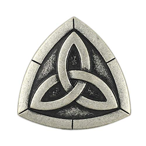 Bezelry 12 Pieces Triangle Celtic Trinity Knot Metal Shank Buttons. 20mm (3/4 inch) (Antique Silver)