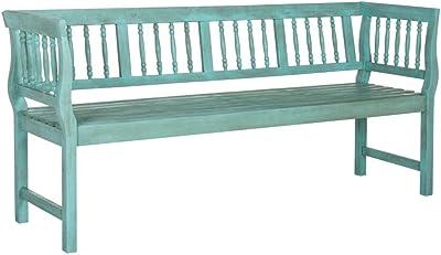 Safavieh PAT6732D Outdoor Bench, Beach House Blue/Beige