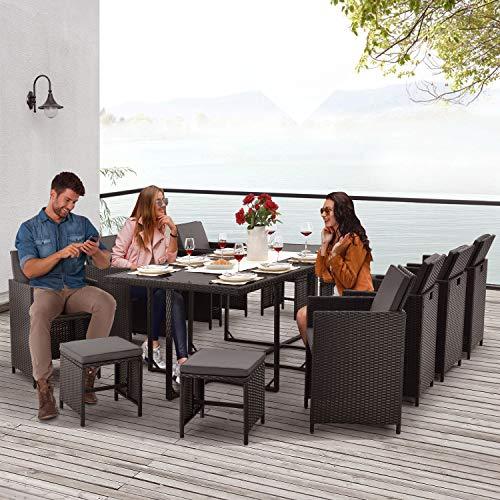 Juskys Polyrattan Sitzgruppe Baracoa XXL 13-teilig wetterfest & stapelbar – Gartenmöbel Set mit 8 Stühle, 4 Hocker & Tisch für Garten & Terrasse - 3