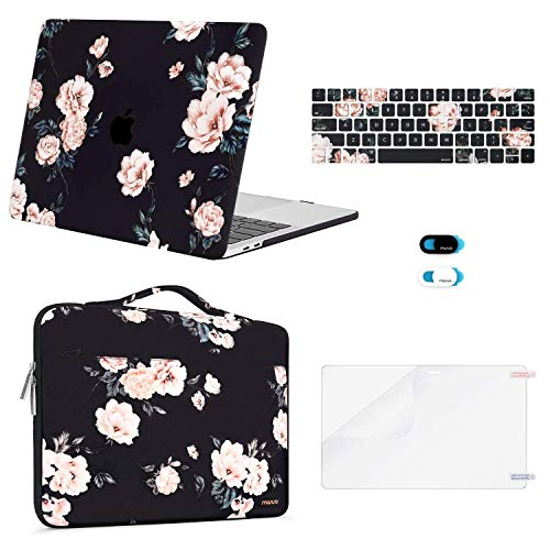 MOSISO Compatible with MacBook Pro 13 inch Case 2019 2018 2017 2016 Release A2159 A1989 A1706 A1708, Plastic Camellia Hard Shell Case&Sleeve Bag&Keyboard Skin&Webcam Cover&Screen Protector, Black