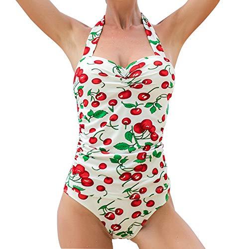 Duevin Sexy Cherry Printing Einteiliger Badeanzug Bikini Badeanzug für Strandbad(XL)