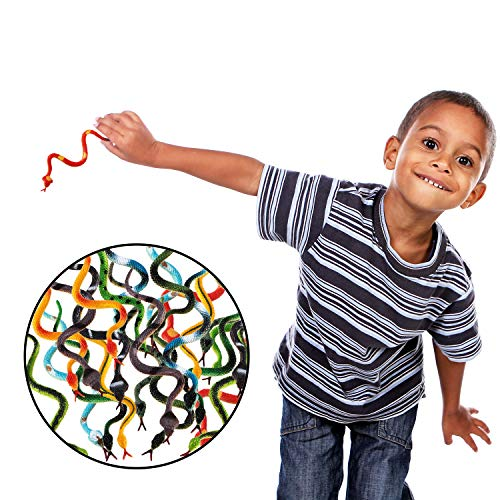 Blulu 48 Pieces Plastic Snakes 4 Inch Rain Forest Snakes Realistic Rubber Snake Assorted Colorful Fake Snake Toys for Boys and Girls, Party Favors Decoration, Gag Toys, Prank and Prop (48 Pieces)