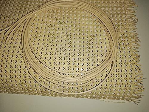 Restauraciones Vintage Kit griglia in vimini per riparazione sedie con giunco per il montaggio (55 x 50 cm + 1 giunzione fissaggio 2 m)