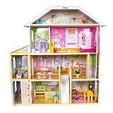 Calma Dragon Casa de Muñecas W06A358, de Madera con Muebles Incluidos, Mansion para muñecas, 4 Pisos para muñecas de 30cm, con Ascensor y 28 Accesorios.