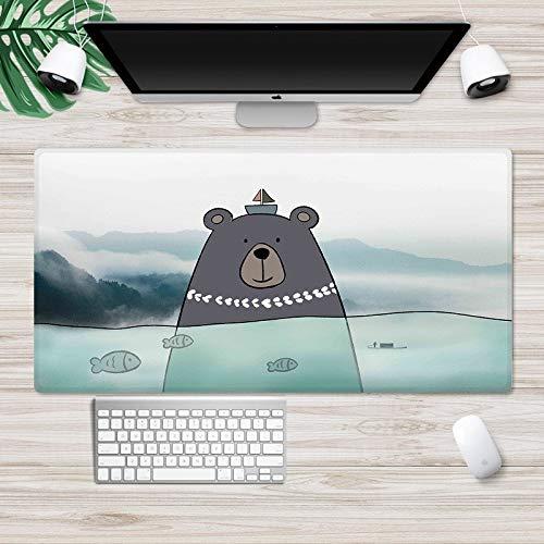 Zenghh Nordic Hem Mauspad Slide Nette Katzen Hunde Zeichentrickfilm Illustration Tier Swan Bear Paw Grünpflanze Kissen Jugend Blume Schöne Weiße Grau Rosa Wasch Pads - 27.5In (Color : EIN)