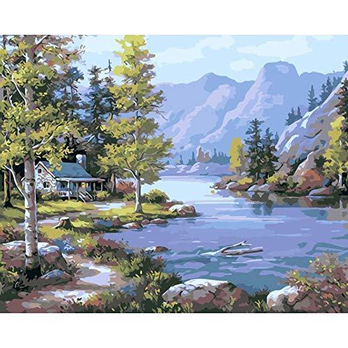 Malen nach Zahlen für Erwachsene Kinder DIY handgemalte Ölgemälde Landschaft Bild malen Home Decoration A14 50x70cm