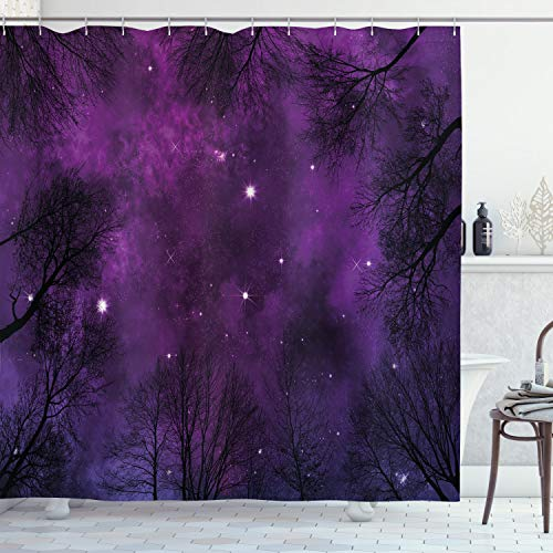 Ambesonne Night Sky Shower Curtain, Outer Space in Planet View of Forest Branches Stars Abstract Design, Cloth Fabric Bathroom Decor Set with Hooks, 70' Long, Purple Black