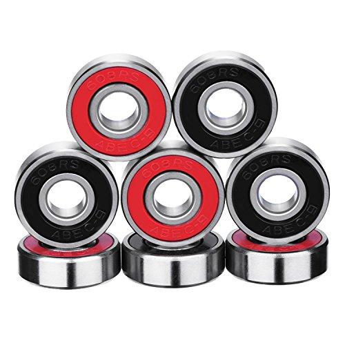 Kugellager Skateboard Kugellager Longboard Roller Rollschuhen 608 2RS, Doppelt Abgeschirmt, Rot und Schwarz, 8 Stück