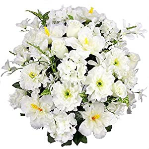 Admired By Nature Artificial Hibiscus with Rosebud, Freesias & Fillers Flower Mixed Bush for Home, Office, Restaurant & Wedding Arrangement, Cream, 36 Stems
