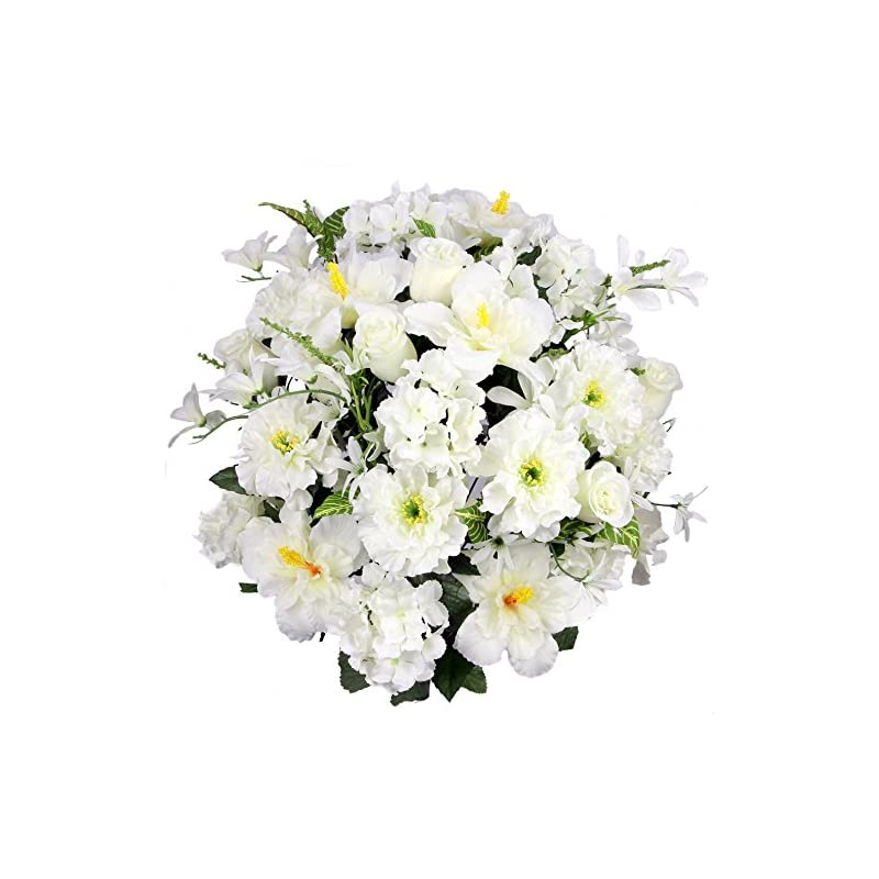 silk flower arrangements admired by nature artificial hibiscus with rosebud, freesias & fillers flower mixed bush for home, office, restaurant & wedding arrangement, cream, 36 stems