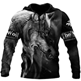 Wolf 3D All Over Printed Unisex Hoodie Hombres Sudadera Zip Pullover Chaqueta Casual Chándales Hoodies XS