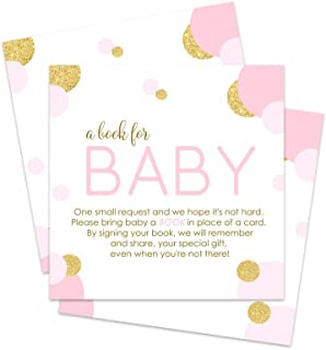 Pink and Gold Bring a Book for Baby Shower Insert Cards (25 Pack)