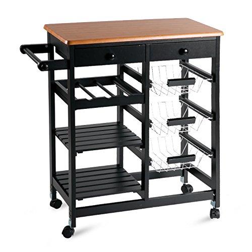 Merax 26' Portable Storage Island Kitchen Trolley Drawers, Microwave Cart, Black