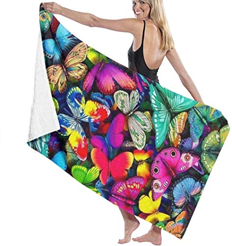 Beach Towel,Soft Super Absorbent Lightweight Bath Towel Rainbow Butterfly Bath Towel Adult Soft Microfiber Printed Beach Towels Travel Towel Bath Towels Suitable For Children And Adults130*80cm