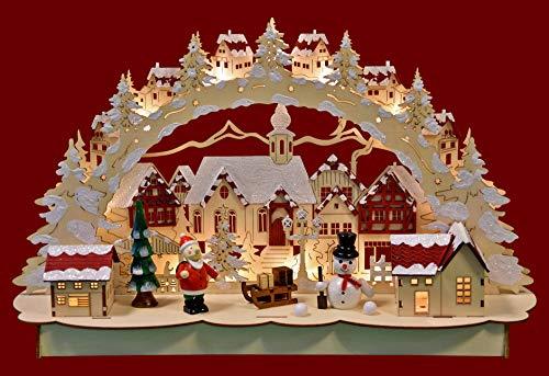Yanka-style 206561 - Arco luminoso a LED, motivo città di Natale, colore naturale/rosso, in legno, illuminazione interna, larghezza ca. 46 cm