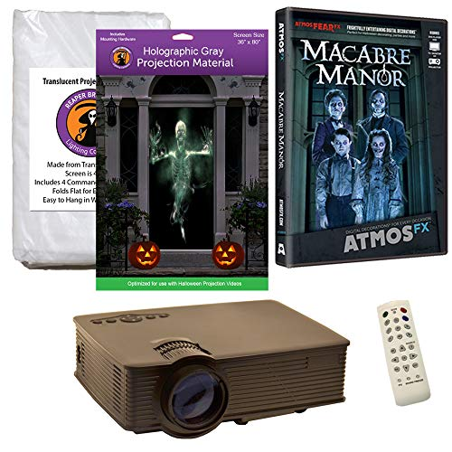 Halloween Window Projection Kit Includes 1900 Lumen Projector, 2 High Resolution Projection Screens (R/D) and AtmosFEARFx Macabre Manor on DVD