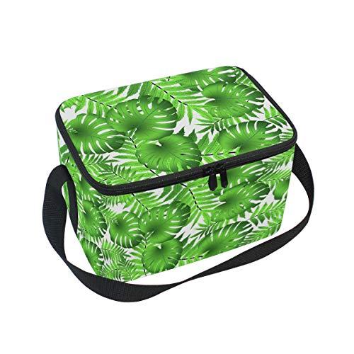 Sac à déjeuner isotherme motif feuilles tropicales de Monstera pour l'extérieur à l'école, au bureau, pour enfants et adultes