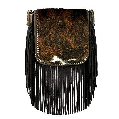 Montana West Genuine Leather Handcrafted Crossbody Handbag Purse Light Bundle (Coffee Hair On Fringe)