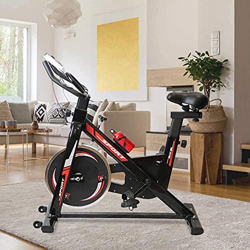 WOERD Bicicleta Spinning Estática para Interior Fitness Ajuste de Resistencia sin Niveles Monitor Digital y Asas de frecuencia de pulsación con Rueda de Inercia