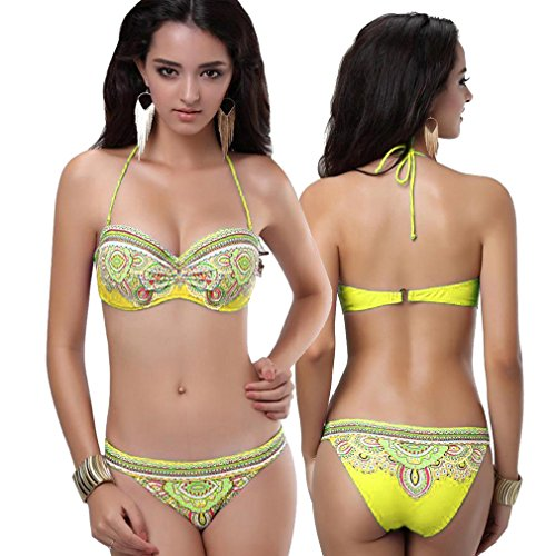Para mujer push Up retro al cuello con estampado de colour amarillo...