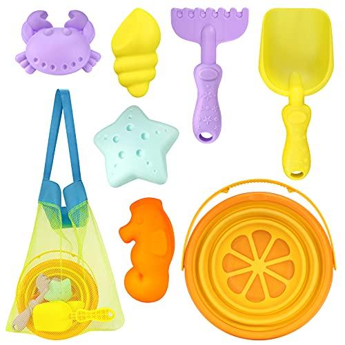 PRAJNASYS Beach Sand Toys for Kids , Set-a Collapsible Bucket and Suitable for Kids Sandbox Toys Set Sandcastle Building Kit,Including Shovel, Bucket, Mould, Rake ,with mesh Beach Bag(Orange)