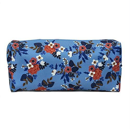 LParkin Birch Floral Canvas Pencil Case for Girls Teacher Gift Flower Pen Bag Gadget Pouch Stationary Case Makeup Cosmetic Bag Box (Blue)