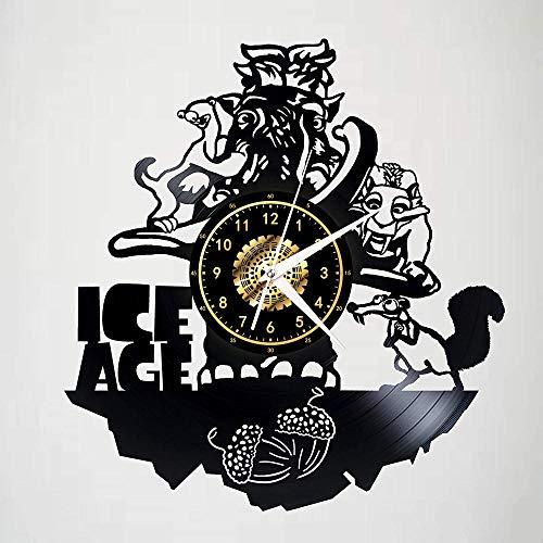 Orologio da Parete in Vinile, Elegante, Creativo, Fatto A Mano, Decorazione per La Casa, Regalo di Natale, 12 Pollici, Ghiacciaio Mondo con LED