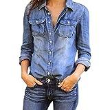 Mujeres Manga Larga Camisas Vaquero - Fashion Primavera Otoño Camisa de Jean con Botones Color Sólido Slim...
