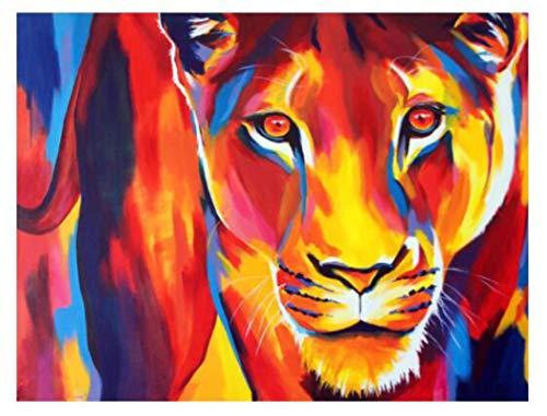 SHUANGJ Nueva Cruz Puntada 5d Diamante Pintura en Llamas león