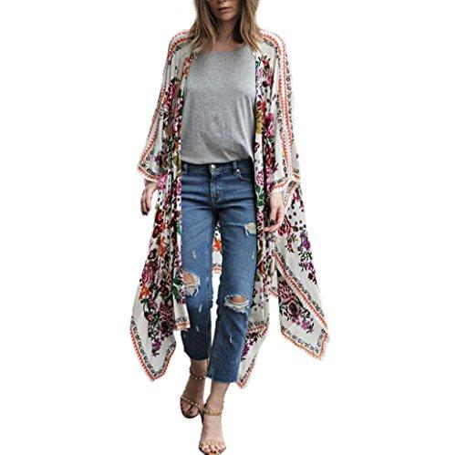 CieKen Women's Sheer Chiffon Boho Blouse Loose Tops Kimono Floral Print Cardigan (White, 2X-Large)