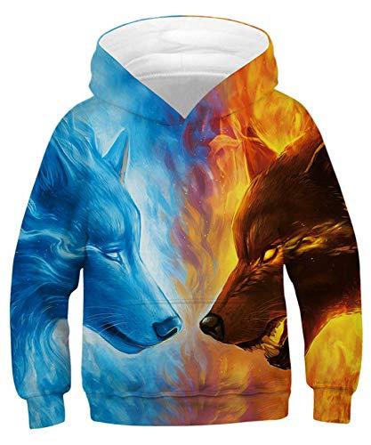 ALISISTER Unisex Kids Hoodies Realistic 3D Galaxy Wolf Digital Print Hooded Pullover Sweatshirt Autumn Winter Outwear Tops for Boys Girls M