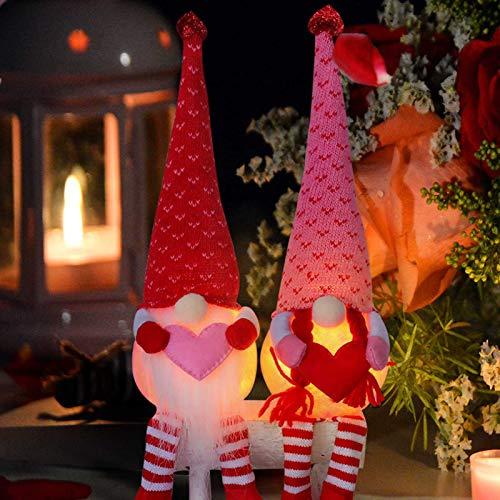 Phoetya Gnomo del día de San Valentín, 2 unidades de bonito gnomo luminoso, elfo de felpa, adorno hecho a mano, apto para el día de San Valentín y regalo de San Valentín.