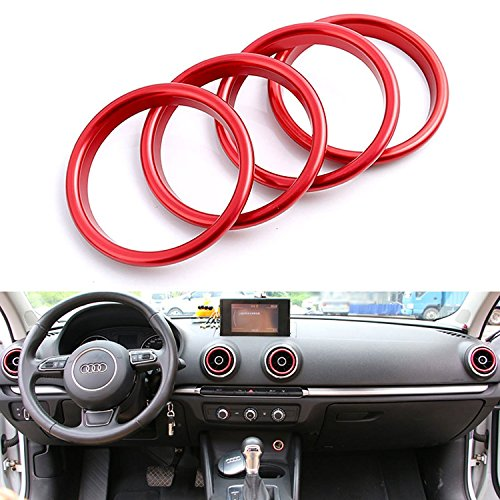 Xotic Tech 4pcs Car Auto AC Air Condition Vent Outlet Decoration Ring Cover Trim for Audi A3 8V New [Red]