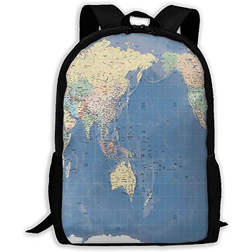 Rugzak Wereldkaart Japan Relief Gall Kaart Rits School Bookbag Dagtas Reizen Rugzak Gym Tas voor Man Vrouwen