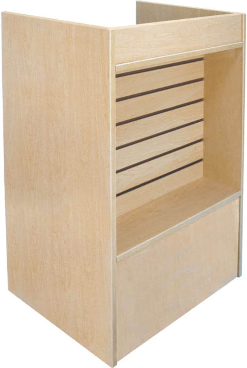 Slatwall Front Well-Top Register Stand in Maple Max 81% OFF 38 W 18 24 x Credence D