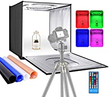 Neewer Photo Studio RGBW Light Box with Infrared Remote Control, Foldable Table Top 24 inches/60cm Shooting Tent with 96...