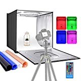 Neewer Photo Studio RGBW Light Box with Infrared Remote Control, Foldable Table Top 24 inches/60cm Shooting Tent with 96 RGBW LEDs/Adjustable 2-40W/6000K-6500K/4 Colors Backdrops