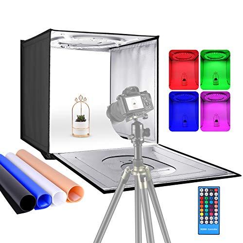 Neewer Photo Studio Caja de Luz RGBW con Control Remoto por Infrarrojos Tablero de Mesa Plegable de 60 cm Tienda de Tiro con 96 LED RGBW/Fondos Ajustables de 2-40 W/6000 K-6500 K/4 Colores