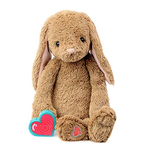 My Baby's Heartbeat Bear Recordable Stuffed Animals 20 sec Heart Voice Recorder for Ultrasounds and Sweet Messages Playback, Perfect Gender Reveal for Moms to Be, Vintage Bunny