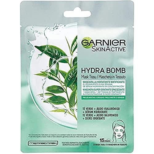 Garnier Skin Active Mascarilla de Tejido HydraBomb, Hidratante y Matificante,
