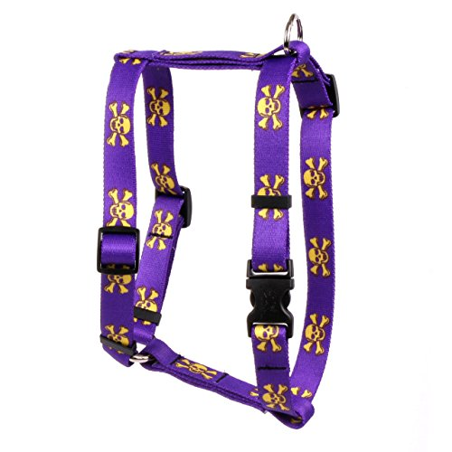 Yellow Dog Design Purple Gold Skulls Roman H Dog Harness, Small/Medium-3/4 Wide fits Chest of 14 to 20