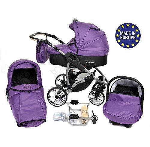 Allivio - 3 in 1 Reisesystem einschließlich Kinderwagen mit schwenkbaren Rädern, Kinderautositz, Buggy und Zubehör (3 in 1 Reisesystem, Veilchenblau und Schwarz)
