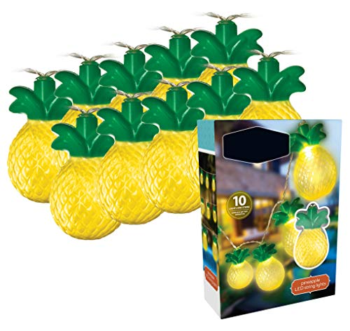 Ideas In Life LED Pineapple Battery Operated String Lights - 10 pcs Set Fruit Shaped String Hanging Light Decorations - Indoor Outdoor Lighting for Home Bedroom Patio Deck