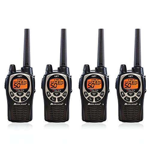 Midland GXT1000VP4 50 Channel GMRS Two-Way Radio - Up to 36 Mile Range Walkie Talkie - Black/Silver (Pack of 4)