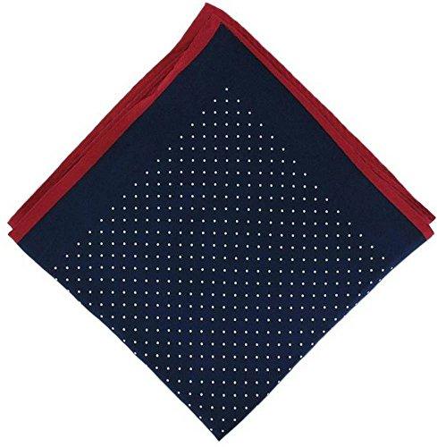 Michelsons of London Marine/Rouge Pin Dot avec mouchoir Border Soie de