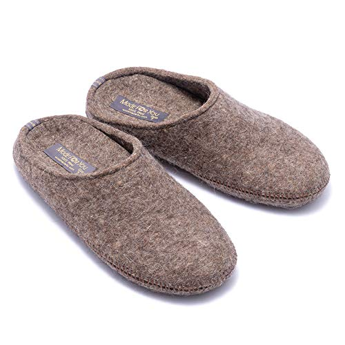 Made For You Women's Natural Wool Slippers with Arch Support Insole, Hypoallergenic...