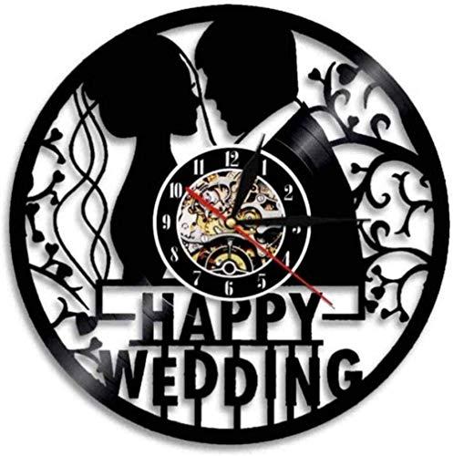 AZHOULIULIU Co.,ltd Reloj de Pared de Vinilo Felicidad Personalizada Decoración de la Boda Disco de Vinilo Reloj de Pared Aniversario de Bodas Reloj de Pared Sr. y Sra. Decoración del hogar