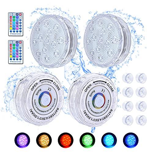 BlueFire Pool Unterwasser Licht, 4 Stück LED Poolbeleuchtung Unterwasser Magnetisch mit Fernbedienung Timer Saugern, RGB Farbwechsel 13 LED Licht Wasserdicht IP68 für Schwimmbad, Teich, Vase, Garten