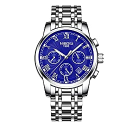 NIBOSI Men's Chronograph Quartz Watch with Stainless Steel Cheap Luminous watch Color Blue