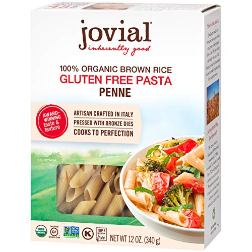 Jovial Penne Rigate Gluten-Free Pasta | Whole Grain Brown Rice Penne Rigate Pasta | Non-GMO | Lower Carb | Kosher | USDA Certified Organic | Made in Italy | 12 oz (4 Pack)